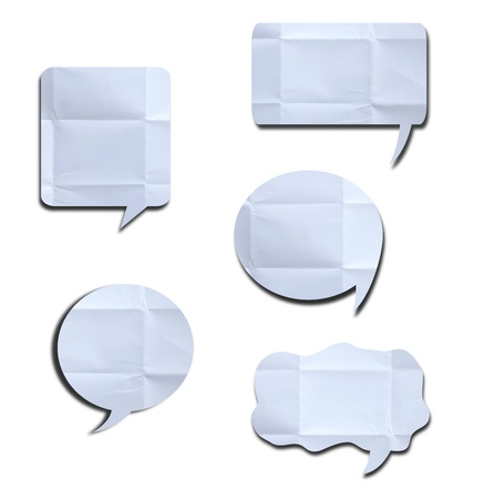 White crumpled speech bubble Paper on white background with shadow  photo