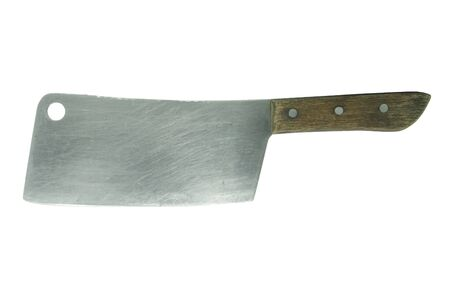 the cleaver: a large kitchen knife on a white background  Stock Photo
