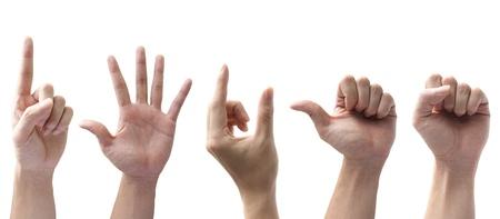 Set di mani gesticolano isolato su sfondo bianco  Archivio Fotografico