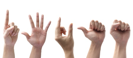 counting: Set of gesturing hands isolated on white background