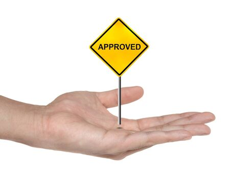 approved sign: hand symbol with approved sign isolated , business concept  Stock Photo