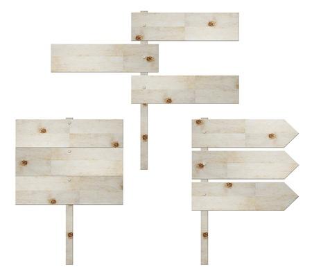 houten bord geïsoleerd op wit, verkeersbord  Stockfoto