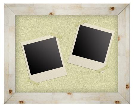 blank photo frames on cork board isolated photo