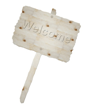 Wooden signboard and word welcome isolated photo