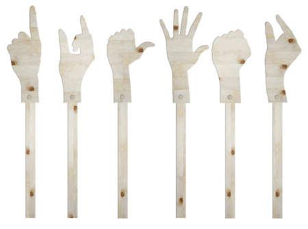 set of gesture hand wooden sign photo