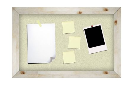 blank instant photos and notes on cork board Stock Photo - 9894173