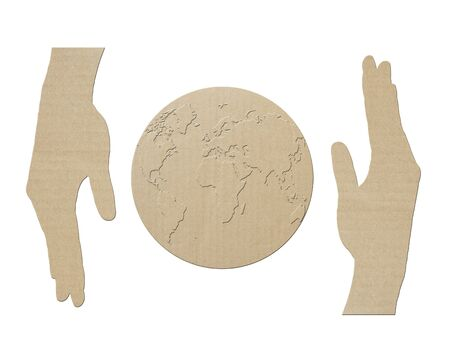 save the earth ,Made of paper symbol  photo