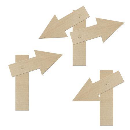 set cardboard navigation arrows on a white background  photo