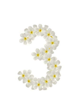Numbers three made of tropical flowers frangipani(plumeria) isolated on white photo
