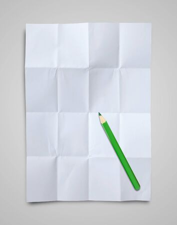 Empty white Crumpled paper and pencil on white background photo