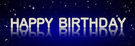 Happy Birthday made from tropical flowers on night sky background  photo