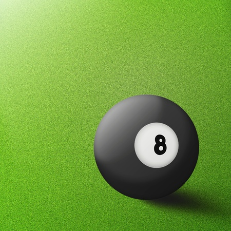 black billiard ball number eight on table pool background  photo