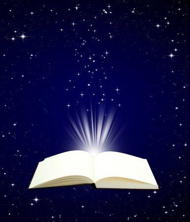 black magic: Open book magic on night sky background - Education concept