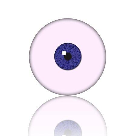 eye ball: bola de ojo azul aislada sobre fondo blanco  Foto de archivo