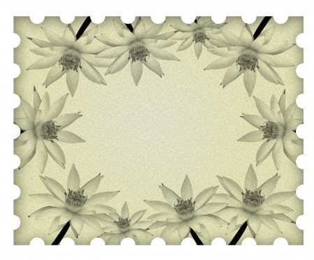 Image lotus flower frame on old paper Stock Photo - 9894292