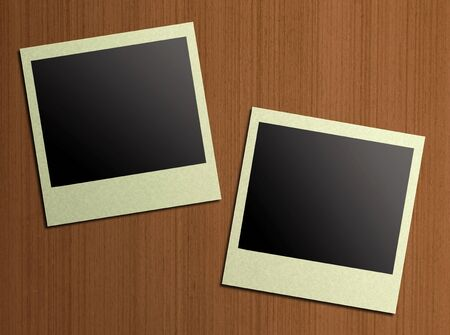 blank photos on a wood background  photo