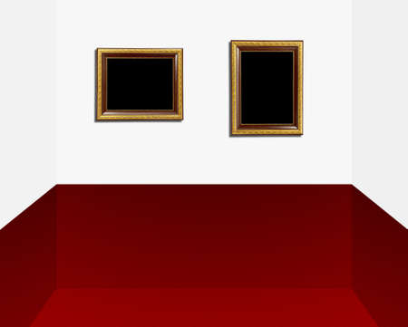 gold frame in modern room  photo