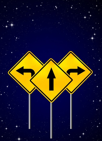 Signs straight, turn left, turn right on night sky Stock Photo - 9894229