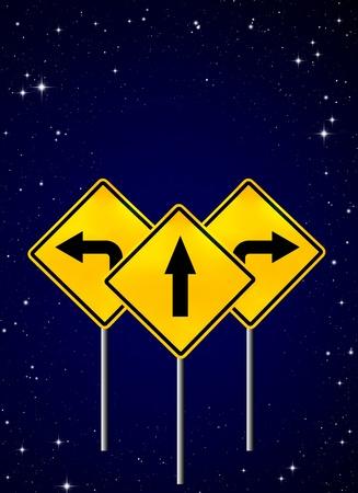 Signs straight, turn left, turn right on night sky  photo