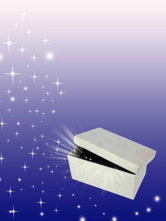 Open magic gift box photo