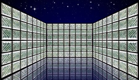 Glass Block Wall Room on night sky photo