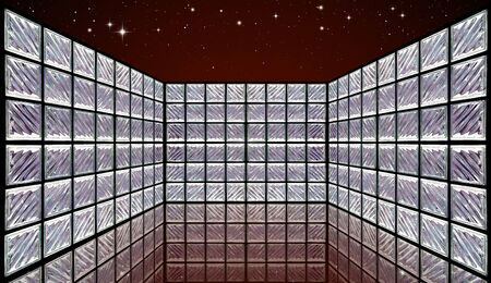 Glass Block Wall Room on night sky photo
