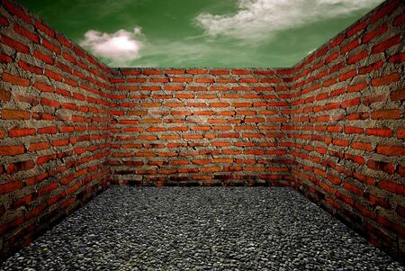 Room with a brick wall, the sky background Stock Photo - 10020043