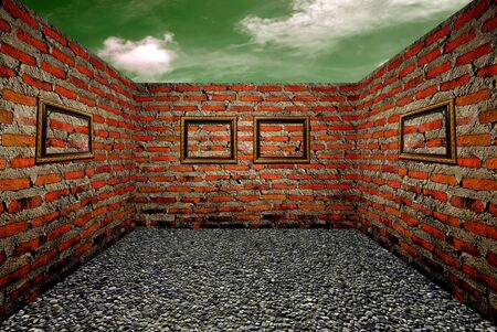 Wood frame and brick walls in the room, the sky background photo