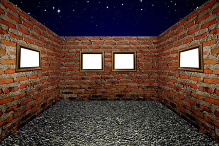 Wood frame and brick walls in the room, Night sky background photo