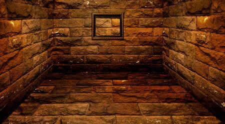 wood frame on brick wall room photo