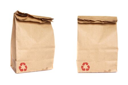 takeaway: recycled paper bag isolated Stock Photo