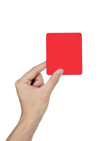 Hand holding a red card isolated on white background Stock Photo - 10020051