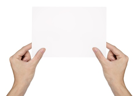 passing: Businessman hand holding blank paper Stock Photo