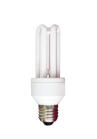 florescent light: isolated compact florescent light bulb Stock Photo