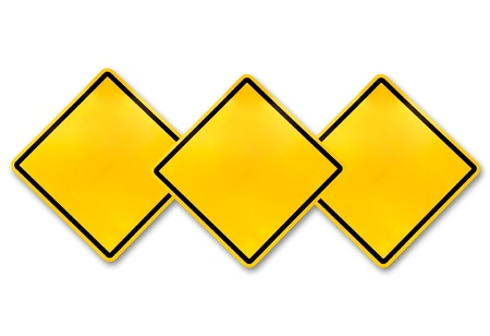 Blank yellow road warning sign  Stock Photo - 10128233
