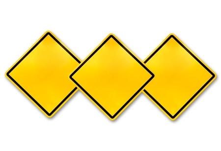 heed: Blank yellow road warning sign  Stock Photo