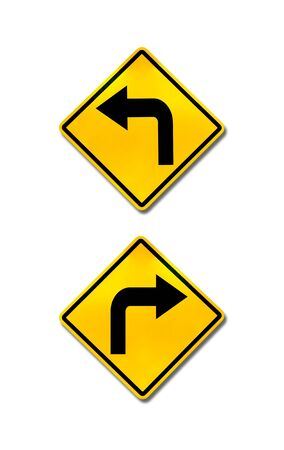 turn sign: right turn and left turn road signs Stock Photo