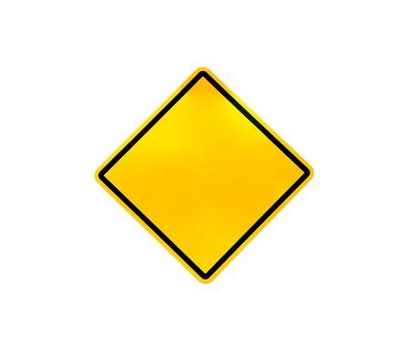 heed: Blank yellow road warning sign