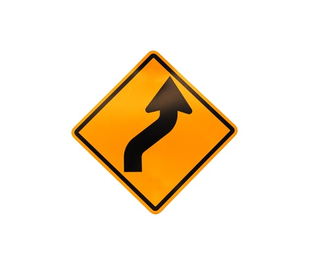 Road sign - turn on white background Stock Photo - 10128045