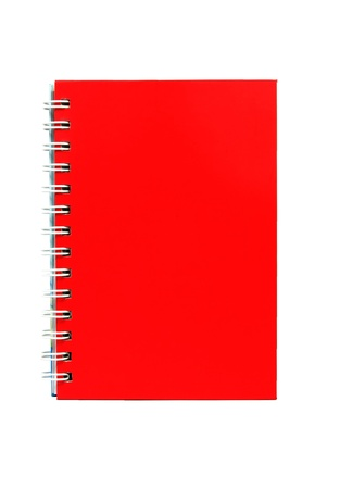Red notebook isolated on white  photo