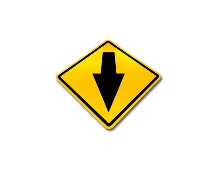 Yellow traffic sign, go straight solated on white background   Stock Photo - 10128124