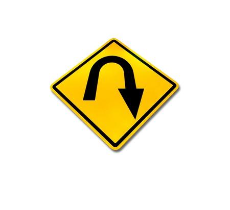 Yellow diamond u-turn roadsign, isolated on white background  photo