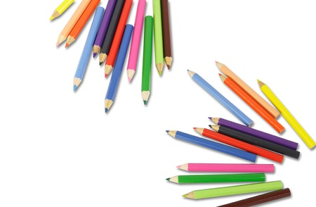 art and craft equipment: colored pencils isolated on white