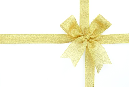 oro nastro e fiocco isolato su sfondo bianco