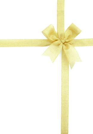 fiocco oro: oro nastro e fiocco isolato su sfondo bianco