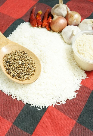white rice and Food ingredients photo