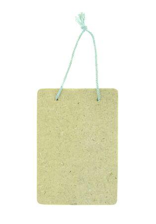 wood label isolated on white photo