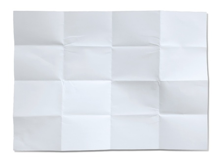 Crumpled white paper isolated photo