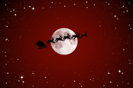 Santa Claus On Sledge With Deer And white Moon Stock Photo - 10312696