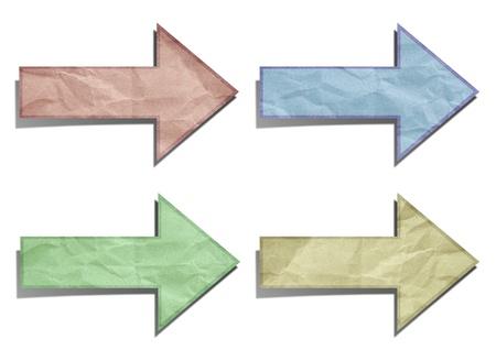pijl gerecycleerd papier stok op witte achtergrond Stockfoto